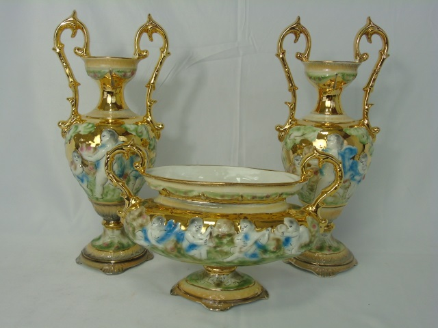 Italian Vintage Painted & Gilt Pair Urns & Compote
