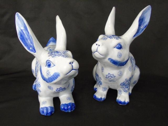 Pair Blue & White Porcelain Decorative Bunnies
