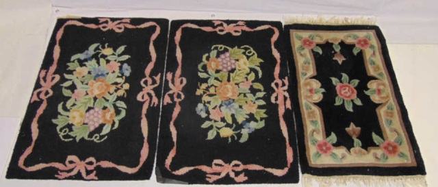 Three Country American Style Hooked Floral Rugs