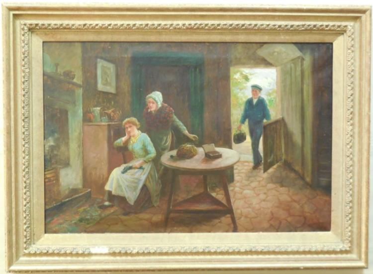 Oil on Canvas Family Scene