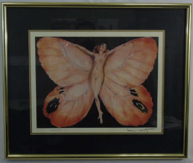 Louis Icart - Signed & Framed Butterfly Print