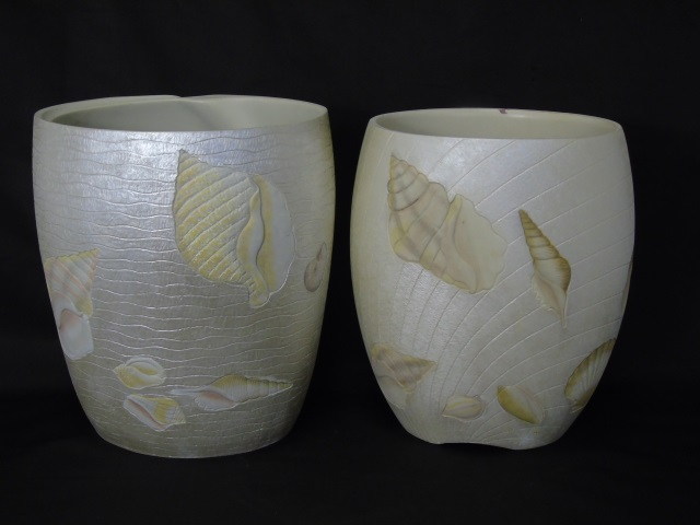 Pair Contemporary Beach House Sea Shell Pots