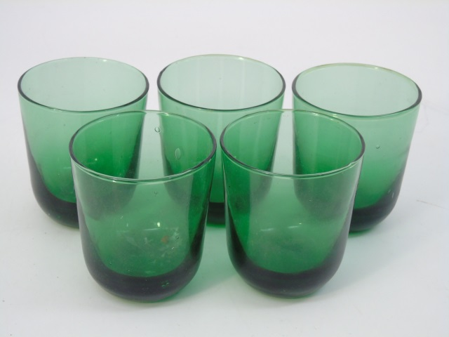 Five Antique Blown Green Glass Tumblers