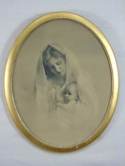 Antique Color Enhanced Photo Mother & Child