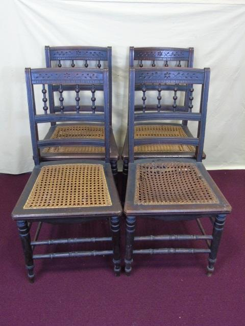 4 Antique Aesthetic Victorian Cane Seat Chairs