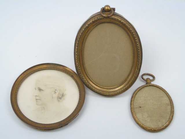 Three Antique Ormolu Miniature Picture Frames