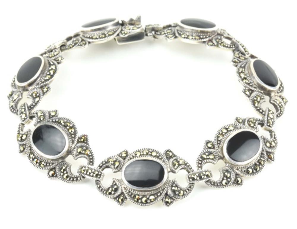 Art Deco Style Sterling Marcasite Onyx Bracelet