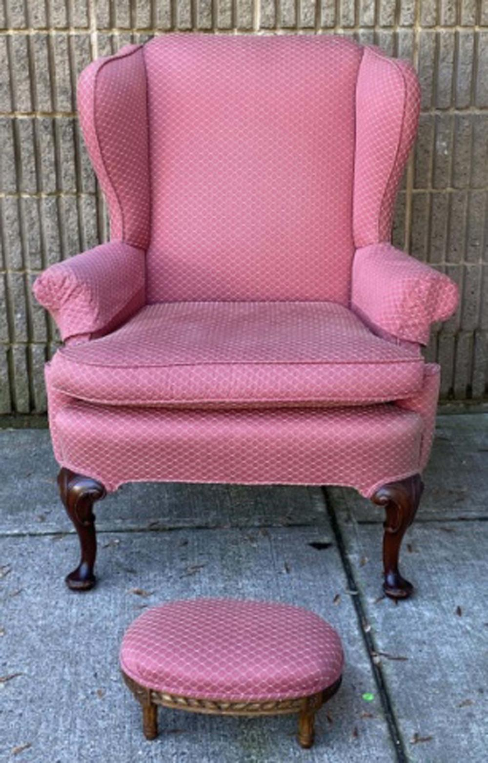 Chippendale Style Wingback Arm Chair & Foot Stool