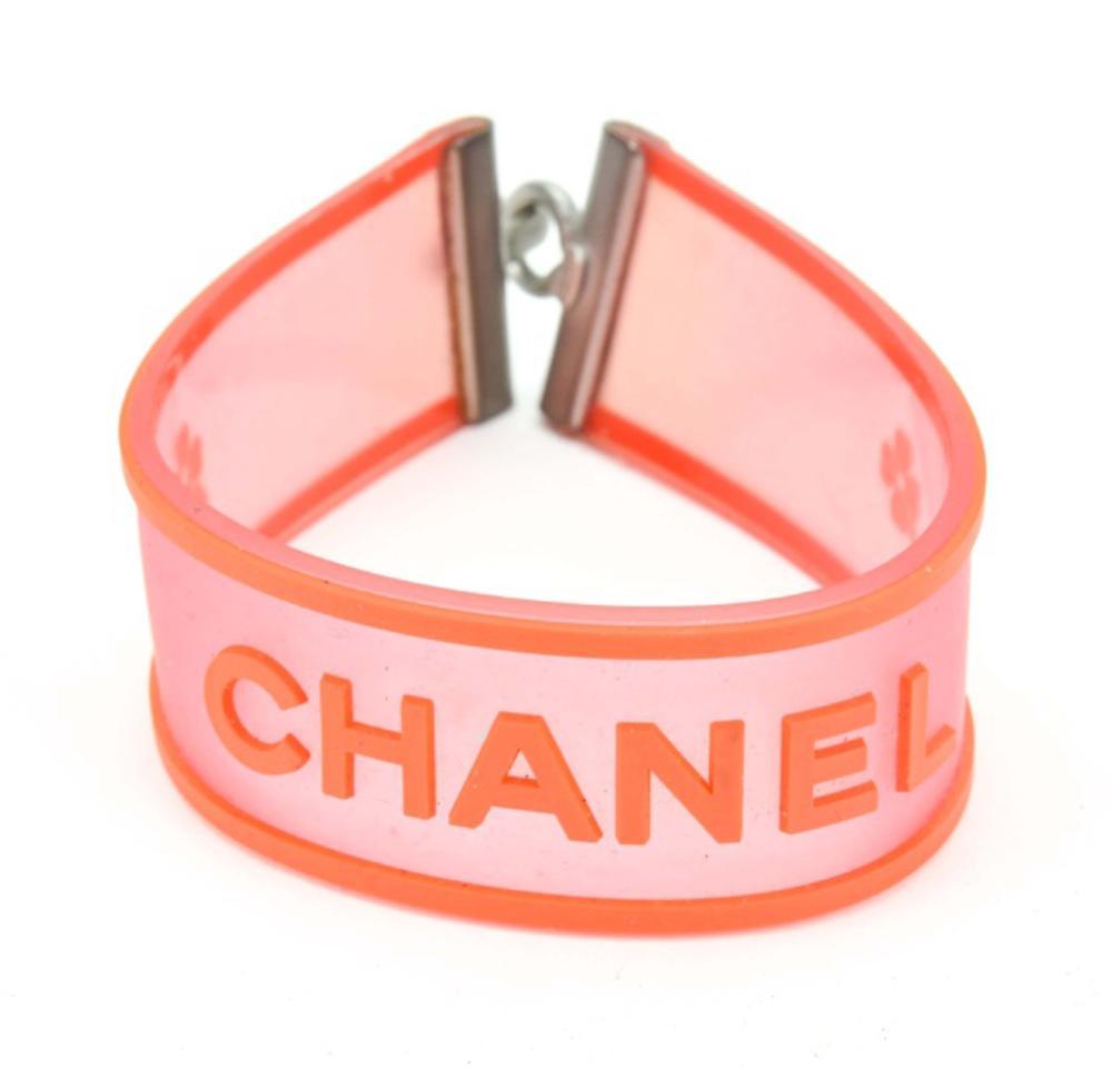 Chanel Pink & Orange Rubber Bracelet
