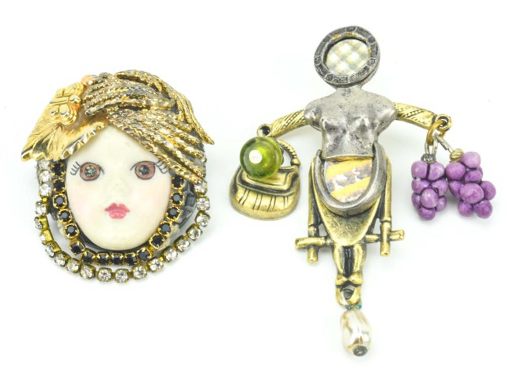 Vintage Hand Made Pins Including Female Form