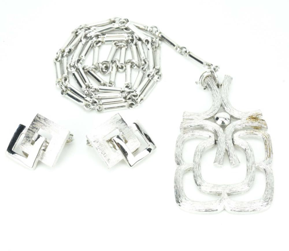 Vintage Silver Avon Necklace & Monet Earrings