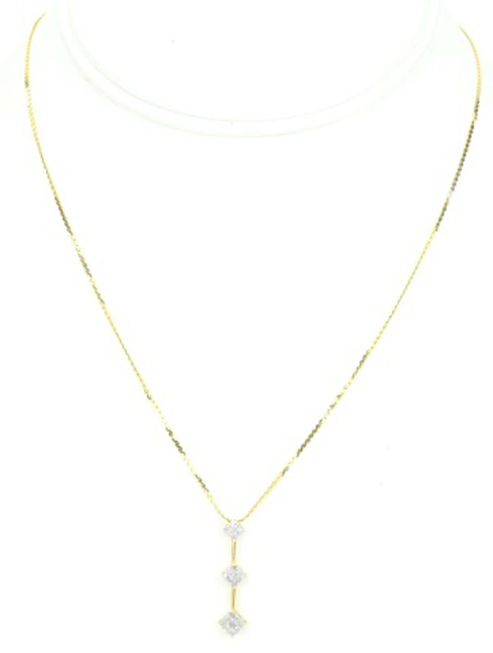 14K Yellow Gold Pave Diamond Triple Drop Pendant
