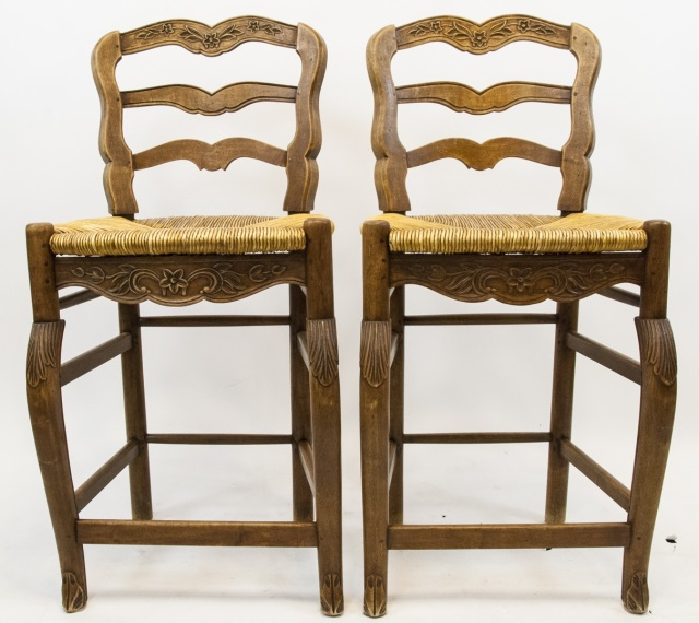 Pair French Country Ladder Back Bar Stools