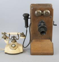 Vintage Kellogg Oak Crank & Electra Table Phones