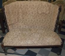 Antique High Back Parlor Settee / Hall Bench