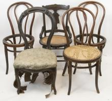 Lot of Vintage Side Chairs, Bentwood & Victorian