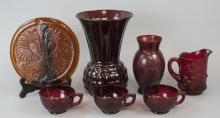 Lot Of Antique & Vintage Cranberry Red Glass Items