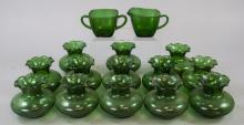 Assorted Lot Of Transparent Green Glass Items