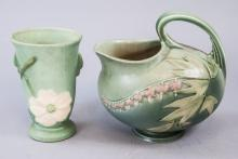 Two Antique Roseville Art Pottery Vessels