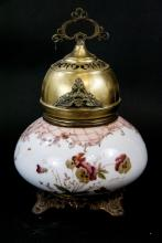 Antique Hand Painted Hurricane  Kerosene Lamp