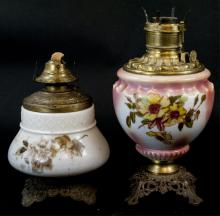 Two Small Antique Hurricane Kerosene Lamps