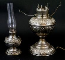 Two Antique Nickel Plated Kerosene Lamps