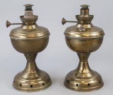 Pair Of  Antique Brass CM Kerosene Oil Lamps