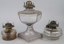 Three Antique Glass Kerosene Lamps