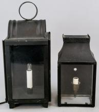 Two Vintage Black Metal Electric Lanterns