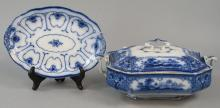 Antique English Blue & White Serving Platters
