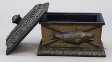 Antique Resin Fish Decorative Box W/ Lid