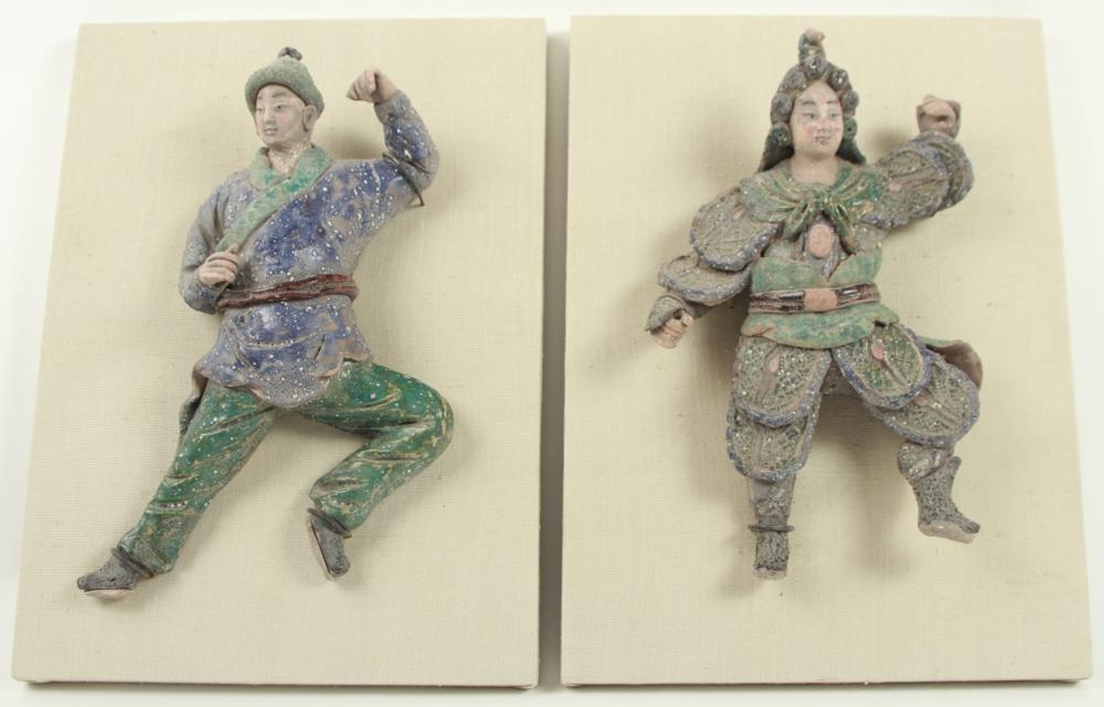 pair asian samurai ceramic figures sculptures