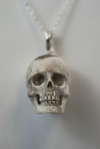 Hand Carved Bone Memento Mori Skull Necklace