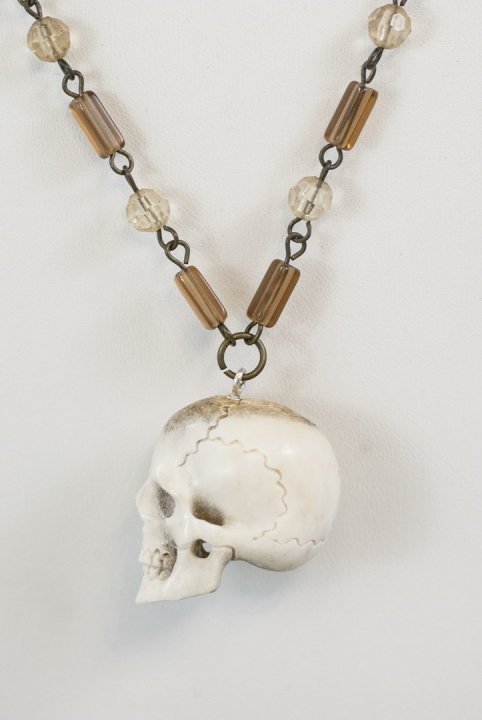 Memento Mori Carved Bone Skull On Crystal Necklace