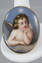 Antique 14kt Yellow Gold & Cupid Portrait Brooch