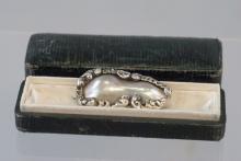 Antique Sterling Blister Pearl Brooch & Gorham Box