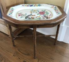 Antique 19th C Spode Porcelain Tray on Table Stand