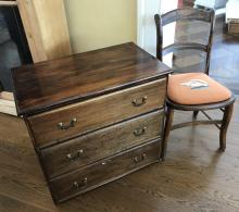 Antique Needlepoint Side Chair & Chest of Drawers