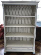 Antique Custom Painted White & Blue Bookcase