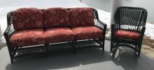 Contemporary Outdoor Green Wicker Sofa & Armchair