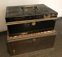 Two Antique Tin Metal Lock Boxes / Cash Boxes