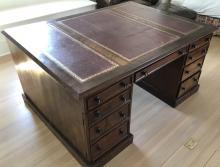 Antique 19th C English Leather Top Partner's Desk