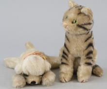 Two Antique German Steiff Stuffed Animal Cat & Dog