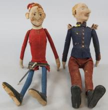 Two Antique German Steiff Felt Jointed Dolls