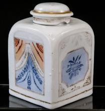Antique 19th C Export Style Porcelain Tea Caddy