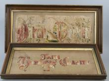 Two Antique 19th C Victorian Needlepoint Panels