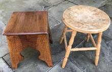 Arts & Crafts Pedestal & Country American Stool