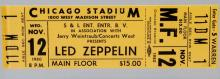 Led Zeppelin Cancelled Concert Ticket from 1980