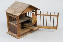 Antique Wood & Lithograph Dollhouse Barn / Stable