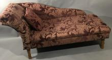 Contemporary Damask Fabric Chaise Lounge